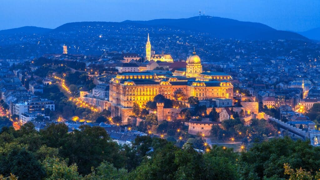 Det kongelige Buda slot set på afstand Budapest