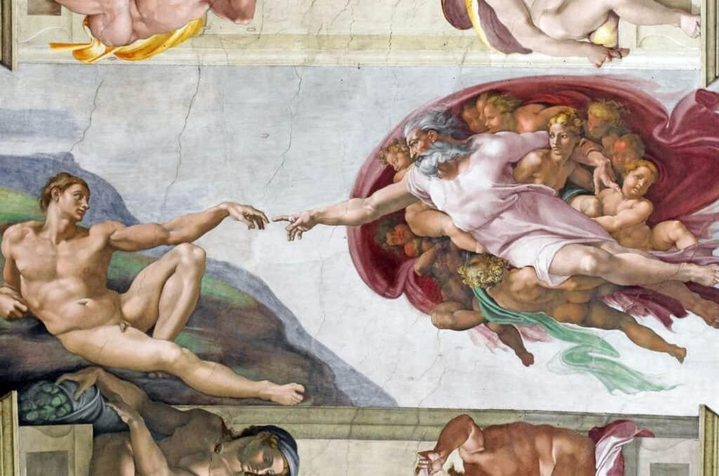adams skabelse er en fresko lavet af michaelangelo som en del af loftet i det sixtinske kapel i vatikanet i rom