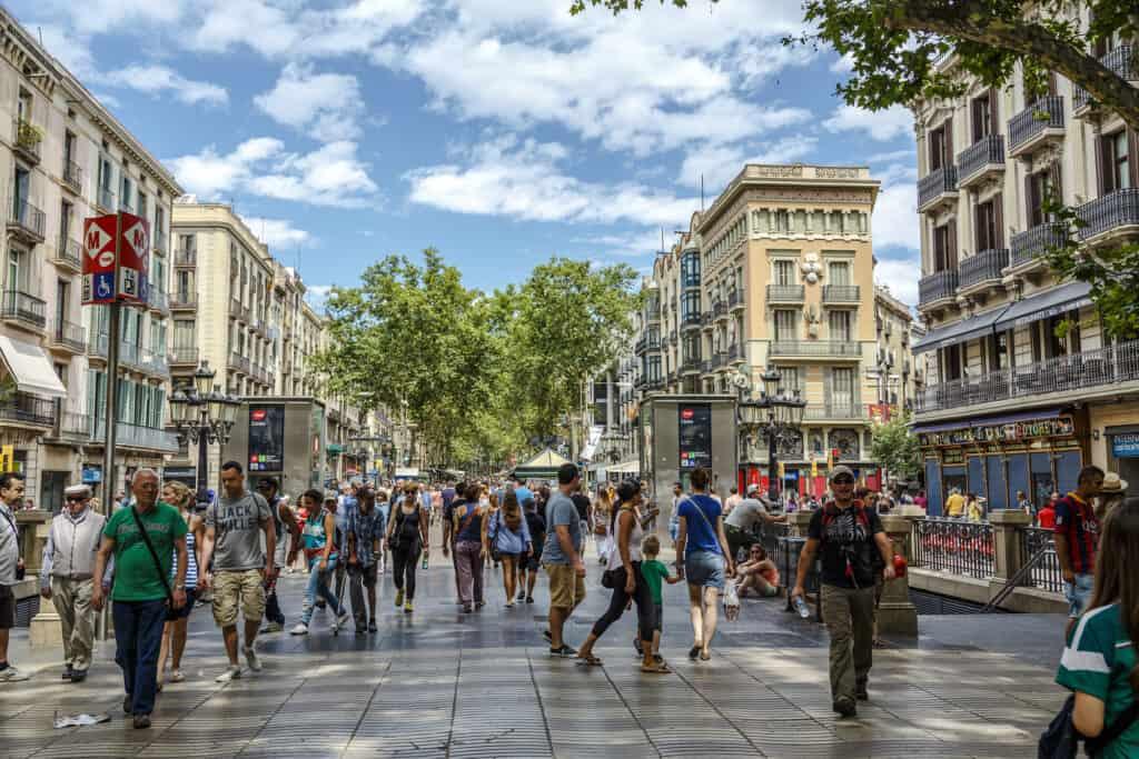 la rambla ramblaen på dansk i barcelona spanien