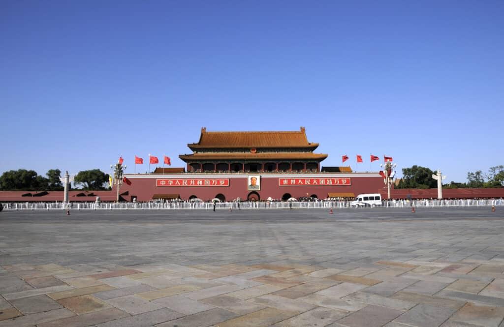 tiananmen square og indgangen til den forbudte by i beijing kina