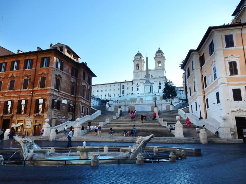 turistattraktionen den spanske trappe i rom